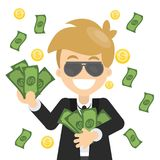 Happy man with money. Happy smiling business man in sunglasses hugging with money stock illustration