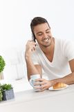 Happy man in the morning Stock Photo