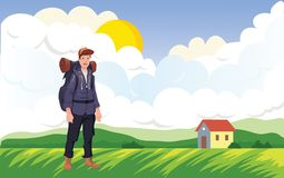 Happy man on the morning walk in the agricultural landscape Ilustración del vector Fotos de archivo libres de regalías