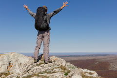Happy man on a mount top Stock Photography