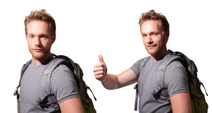 Happy man mountain hiker Stock Image