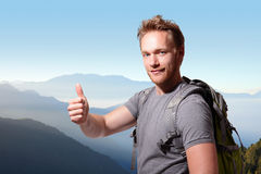 Happy man mountain hiker Royalty Free Stock Images