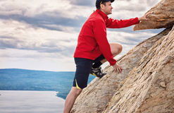 Happy man mountaineering national park Zuratkul Chelyabinsk Russia. Royalty Free Stock Photo