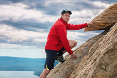 Happy man mountaineering national park Zuratkul Chelyabinsk Russia. Royalty Free Stock Images
