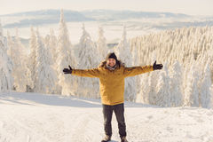 Happy Man in Mountains Royalty Free Stock Photo