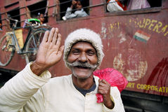 Happy man, Nepal. Train passenger is happy to see a foreigner in the small village of Khajuri in south Nepal Royalty Free Stock Photography