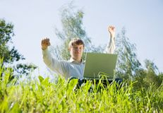 Happy man  with  notebook Royalty Free Stock Images
