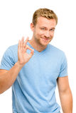 Happy man okay sign - portrait on white background Royalty Free Stock Photos