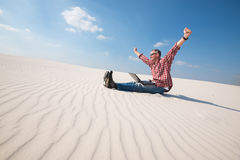 Happy man with open arms delighted with success Royalty Free Stock Photography
