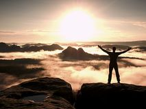 Happy man with open raised arms Gesture of triumph. Satisfy hiker silhouette Royalty Free Stock Photo