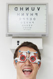 Happy Man At Optometrist Having Sight Test Stock Images