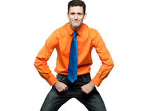 Happy man in orange shirt and blue tie. Royalty Free Stock Photography