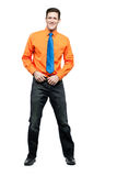 Happy man in orange shirt and blue tie. Royalty Free Stock Image