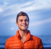 Happy man outdoors stock photo
