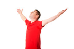 Happy man with outstretched arms. Stock Image