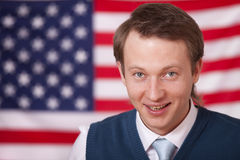 Happy man over american flag Stock Images