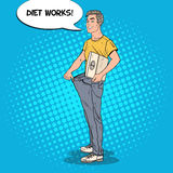 Happy Man in Oversized Jeans with Weights. Dieting Concept. Pop Art illustration Royalty Free Stock Images