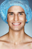 Happy man patient in medical hat ready for operation. Stock Photography