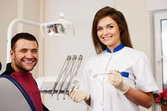 Happy man patient and  woman dentist Stock Images
