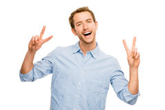 Happy man peace sign isolated white background Stock Photos