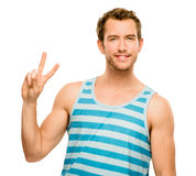 Happy man peace sign isolated white background Royalty Free Stock Photo