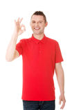 Happy man with perfect hand sign Stock Images