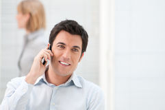 Happy man on the phone Stock Photo