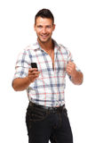 Happy man with phone Royalty Free Stock Photography