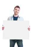 Happy man with placard sign Royalty Free Stock Images
