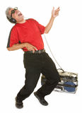 Happy Man Playing Air Guitar Royalty Free Stock Photos