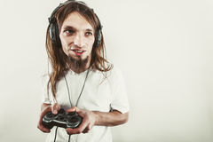 Happy man playing games Royalty Free Stock Photos