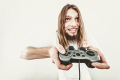 Happy man playing games Royalty Free Stock Photography