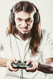 Happy man playing games Stock Photo