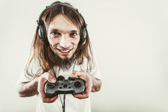 Happy man playing games Royalty Free Stock Photo