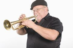 Happy Man Playing Trumpet Royalty Free Stock Image