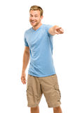 Happy man pointing - portrait on white background Royalty Free Stock Photography