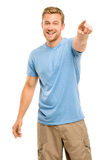Happy man pointing - portrait on white background Royalty Free Stock Images