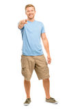 Happy man pointing - portrait on white background Royalty Free Stock Image