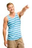 Happy man pointing - portrait on white background Stock Photo