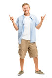 Happy man pointing - portrait on white background Stock Images