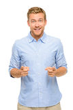 Happy man pointing - portrait on white background Royalty Free Stock Photo