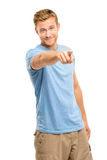 Happy man pointing - portrait on white background Royalty Free Stock Photos
