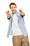 Happy man pointing white background Stock Photos