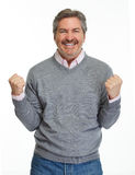 Happy man portrait. Happy cheerful mature man portrait isolated on white background stock images