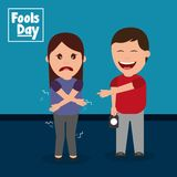 Happy man prank a woman fools day. Vector illustration Royalty Free Stock Images