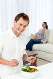Happy man preparing lunch Stock Image