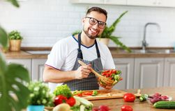 Happy  man preparing vegetable salad in kitchen Royalty Free Stock Photos