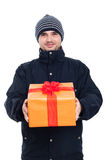 Happy man with present Royalty Free Stock Photos