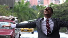 Happy Man in Rainy Weather stock video