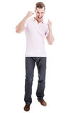 Happy man with raised fists Stock Photography